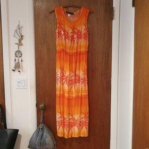 Orange tropical beach dress